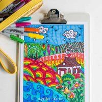Landscape Zentangle Coloring Page