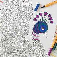 Free Adult Coloring Page: Peacock