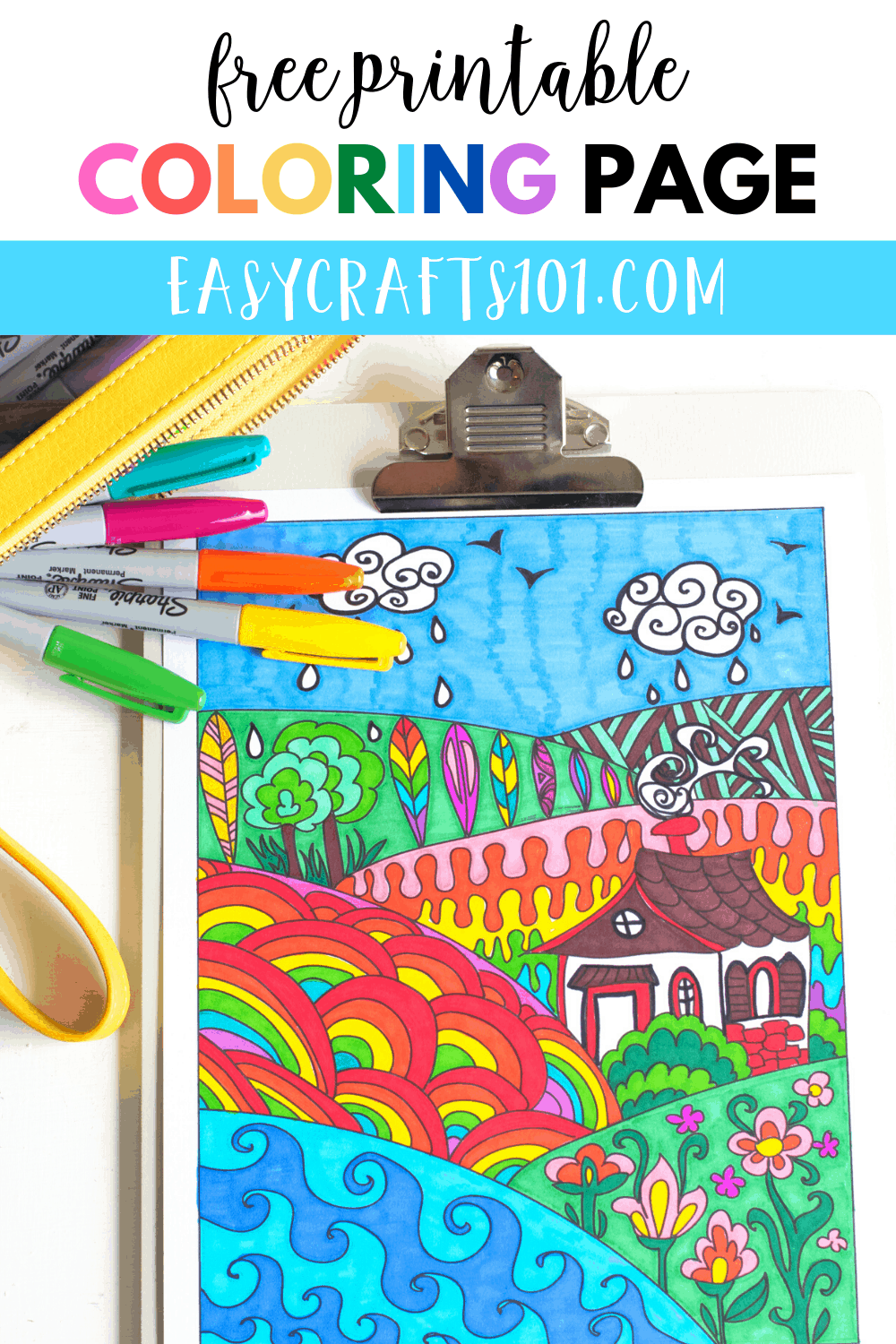 Landscape Zentangle Coloring Page Easy Crafts 101