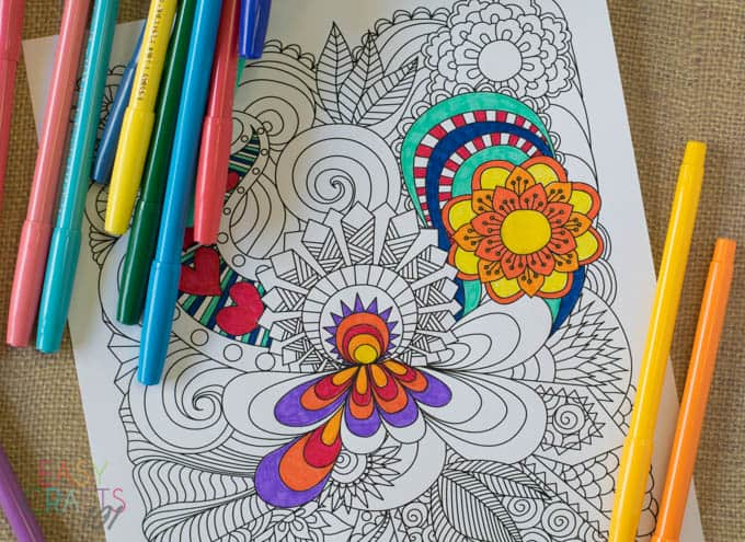 Free Printable Coloring Pages For Adults: Flower Coloring Page - Easy  Crafts 101