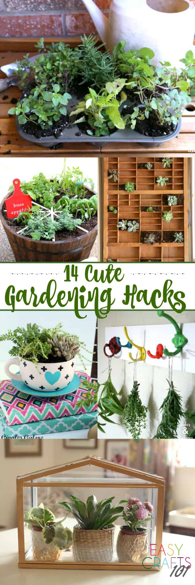 14 cute gardening hacks pin