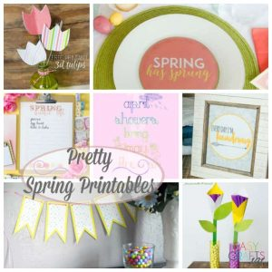 Photos of paper flowers, spring bucket list, and springtime banner