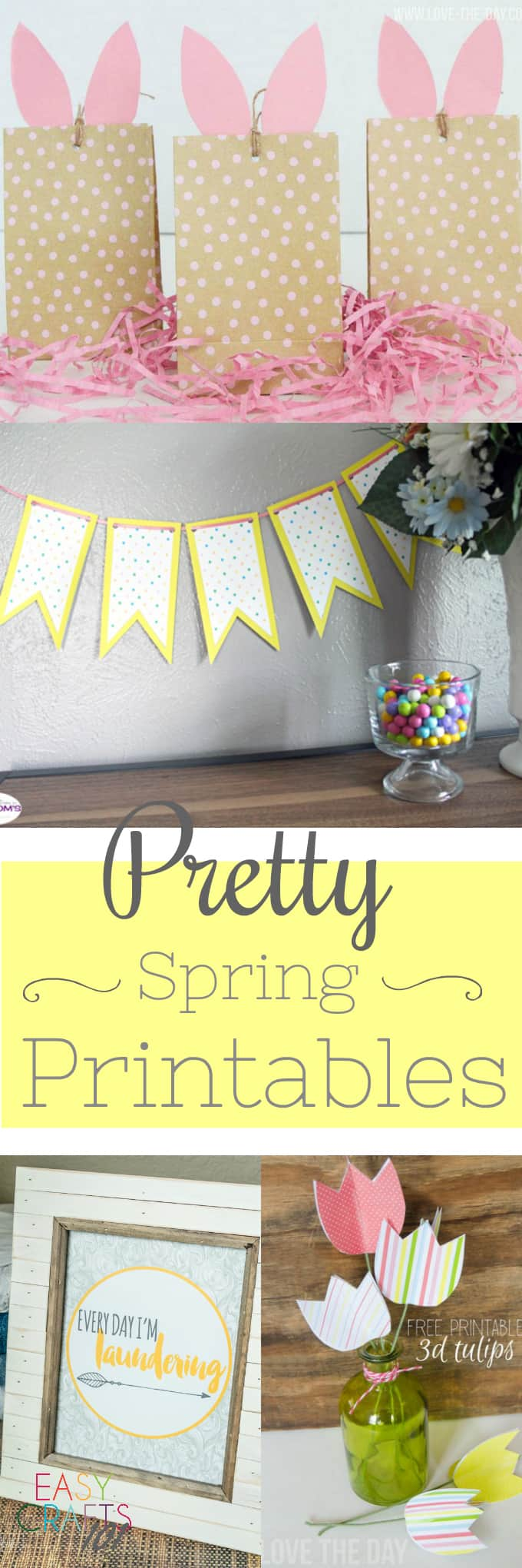 Photos of Easter Bunny bags, springtime banner, and paper tulips