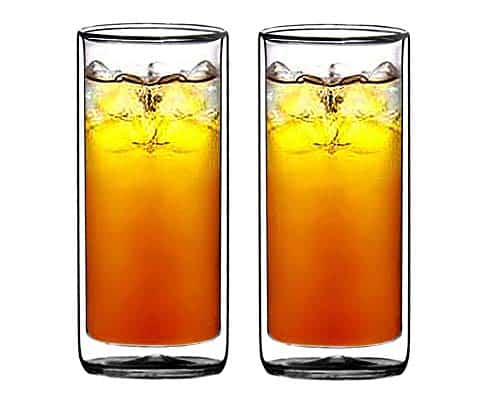 Sun's Tea(tm) 16oz Ultra Clear Strong Double Wall Insulated Thermo Glass Tumbler Highball Glass