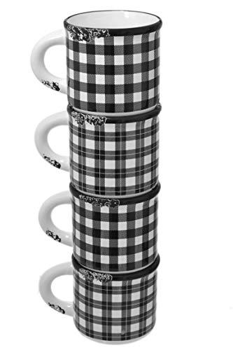 Set 4 Black & White 18oz Vintage Plaid Enamel-Look Ceramic Tea Coffee Latte Mugs