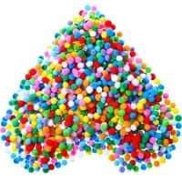 2000 Pieces 0.8 cm Assorted Color Elastic Pom Poms