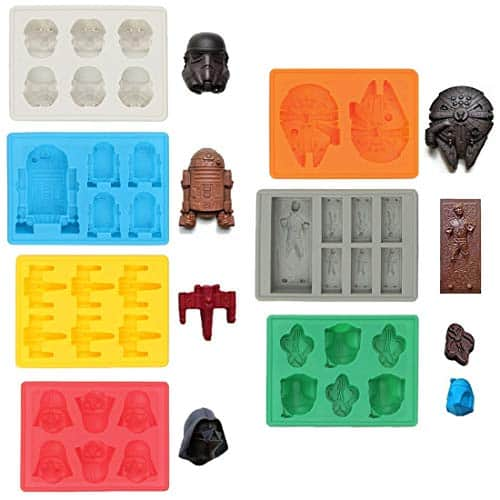 Silicone Molds in Star Wars Character Shapes, Ideal for Chocolate, Ice Cubes Trays, Jelly, Sweets, Desserts, Baking Soap and Candle Making