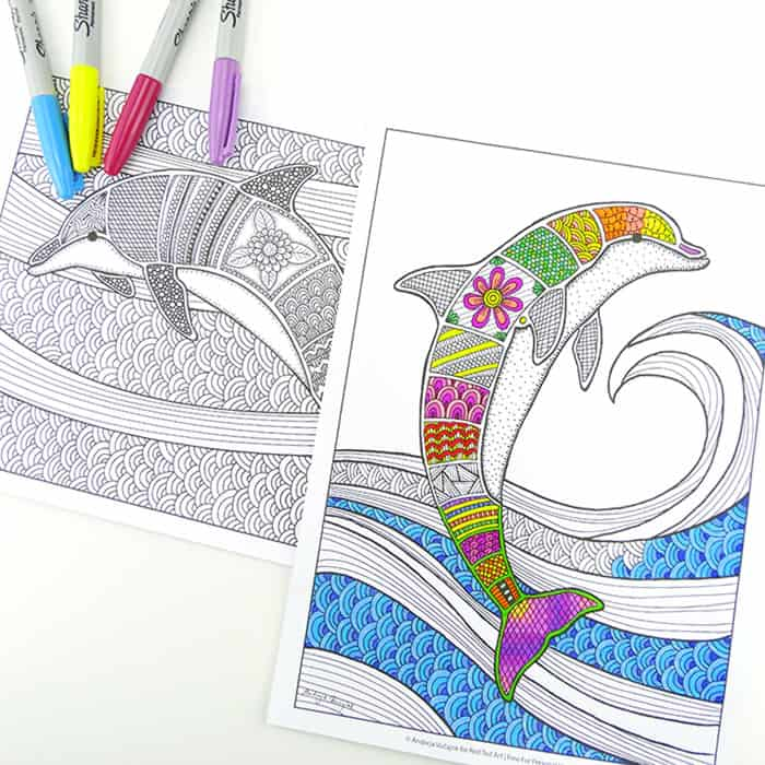 Free Colouring Pages for Grown Ups - Dolphins
