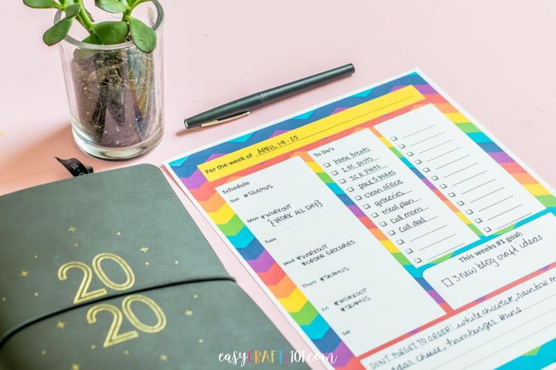 Weekly Printable Rainbow Planning Page EasyCrafts101