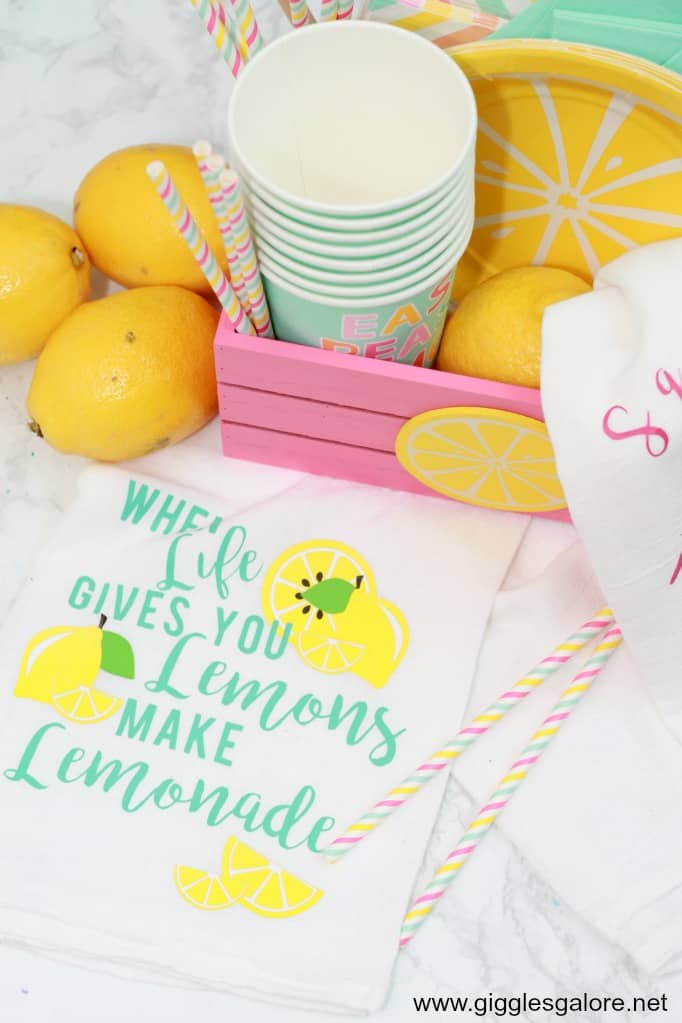 Lemonade Tea Towels with Cricut Iron On