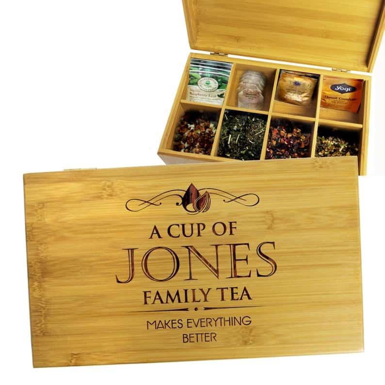 Custom Engraved Tea Chest