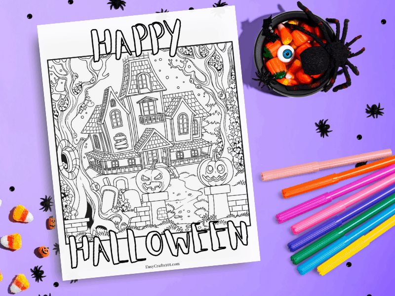 Printable Haunted House Coloring Page Easy Crafts 101